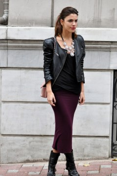 Pencil Skirt, Black Top, Leather Blaser, Black Boots