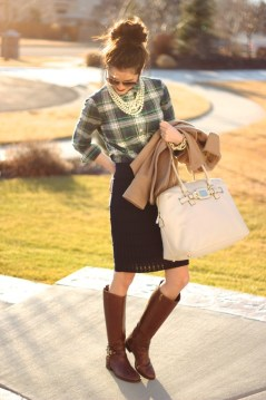 Pencil Skirt, Plaid Shirt, Riding Boots, Pearls Outfit