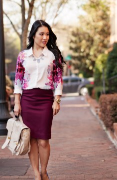 Pencil Skirt with Cute Floral Long Sleeves Top