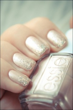 Pink Gold Glitter Ombre Nails