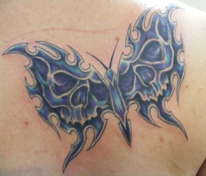 Sharp Skull Wing Butterfly Tattoo