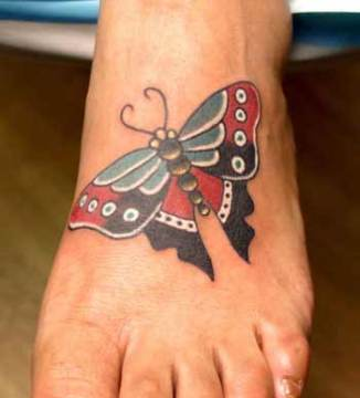 Sharp Wing Tip Traditional Butterfly Tattoo