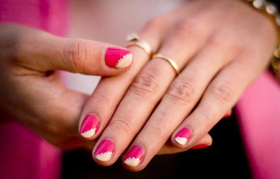 Side Swooped Pink Wedding Nail Design
