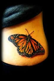 Side Waist Monarch Butterfly Tattoo
