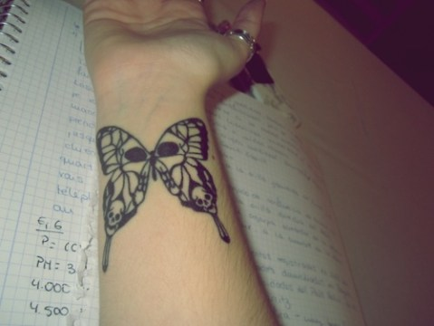 Skull Tip Butterfly Tattoo on Wrist