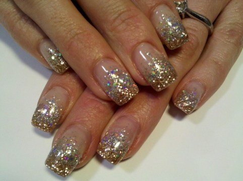 Super Sparkle Silver and Gold Glitter Nails