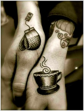 Tea and Tea Cup Meaningful Couple Tattoo
