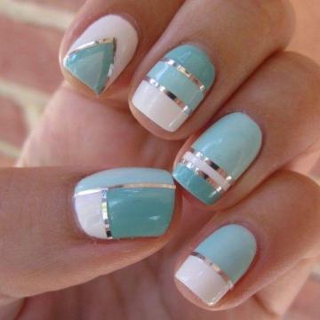 Turquoise + White + Silver Nail Polish