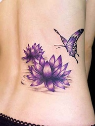 Violet Flower and Butterfly Tattoo