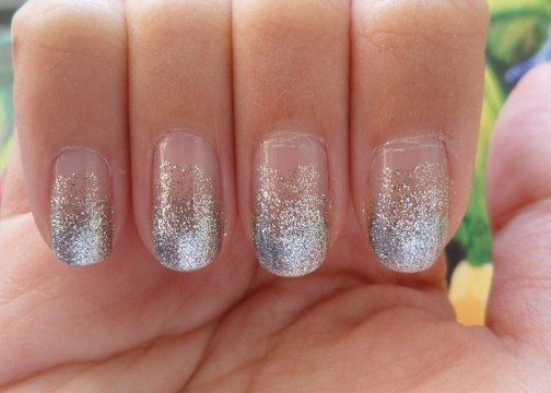 White Glitter Ombre Nails
