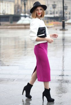 White Jacket Fuchsia Skirt Black Heeled Boots