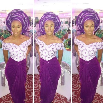 off shoulder purple ankara dress
