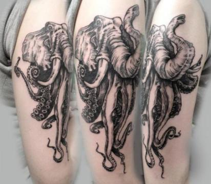 arm dotwork elephant octopus