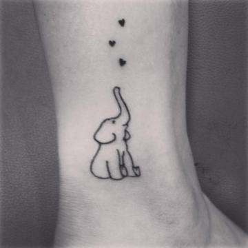 cute elephant tattoo with hearts