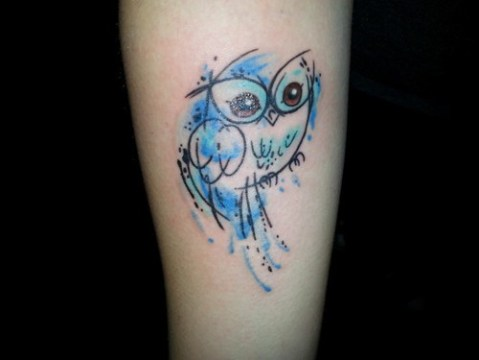 little owl watercolor tattoo