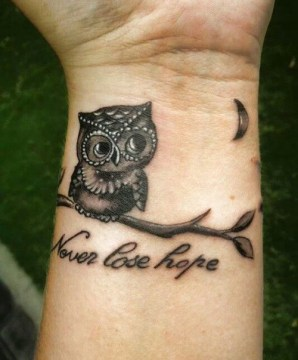 never lose hope tattoo quote with an owl and moon tattoo