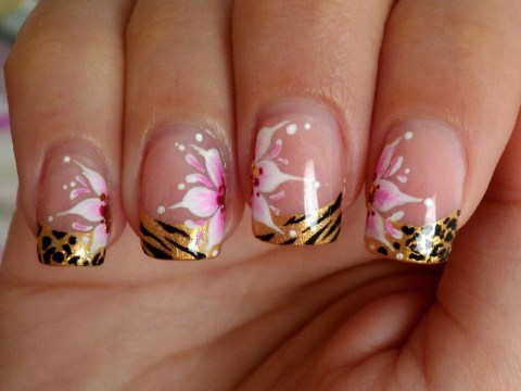 Animal Print French Tips with Flowers Nail Design - 90+ Glamorous French Tip Nails Ideas - All About Pink! - FMag.com