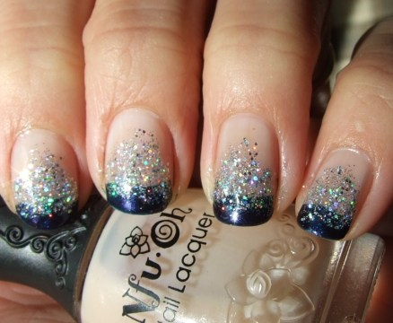 Blue Glitter French Tip Nails