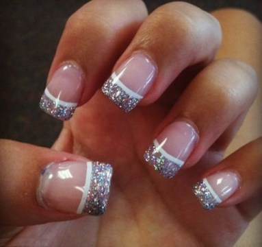 French Tip Glitters with White Linings