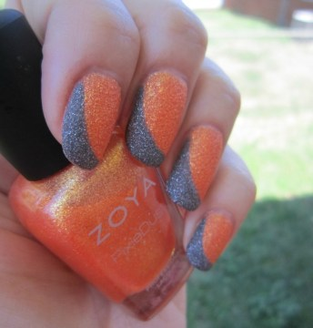Orange Paired with Grey Swooped French Tips