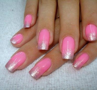 Pink French with Silver Glitter Ombre Tips