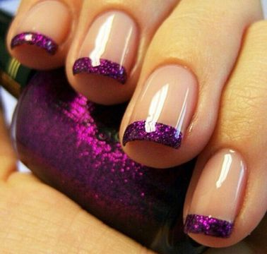 Purple Glitter French Tip Nails