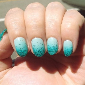 Seafoam Ombre Nails with Glitters