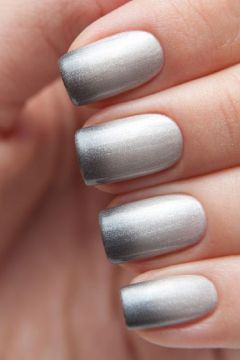 Shade of Grey inspired Ombre French Tip Nails