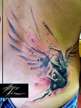 splashed angel tattoo