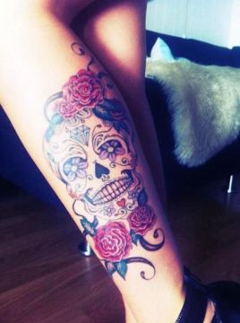 leg sugar skull tattoo