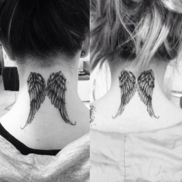neck wings tattoo 2