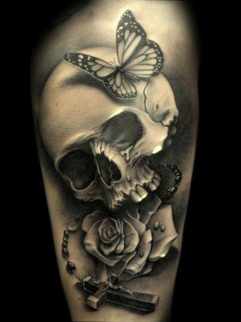 90 stunning skull tattoo ideas for women fmag com rh fmag com skull rose butterfly tattoo skull butterfly tattoo sketch