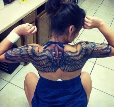 3d big wings tattoo