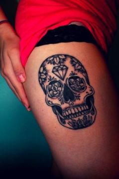 diamond sugar skull tattoo