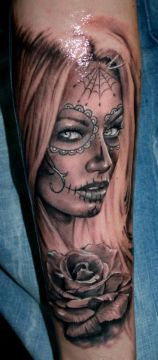 beautiful sugar skull face tattoo 3