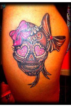 pink sugar skull tattoo