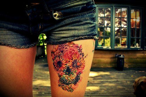 colorful flower skull tattoo