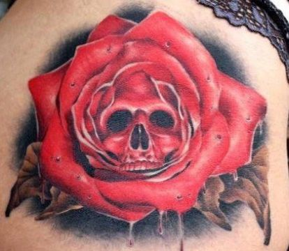 rose skull tattoo