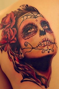 beautiful sugar skull face tattoo