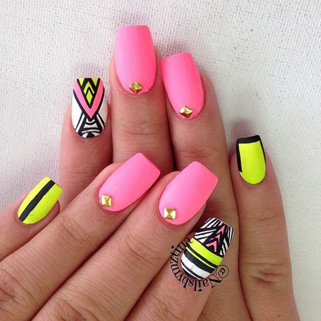 Neon Matte Tribal Nails Spring Nail Art Designs Opt Fmag