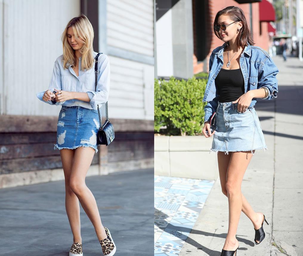Mini denim skirt style images