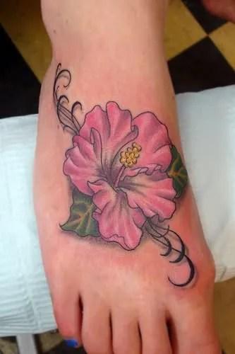 hawaiian flower tattoo on foot