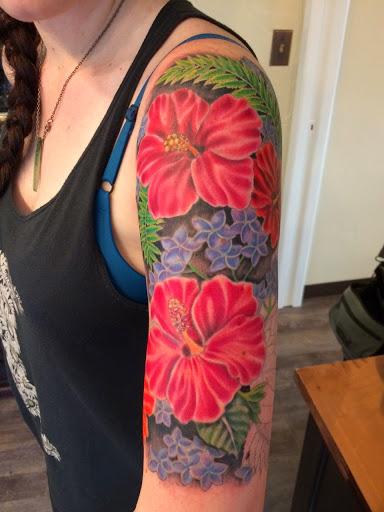 hawaiian flower tattoo sleeves
