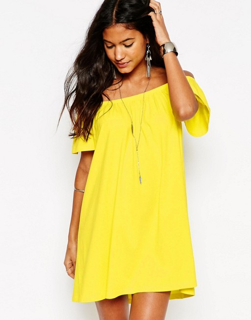 off the shoulder yellow cocktail dress