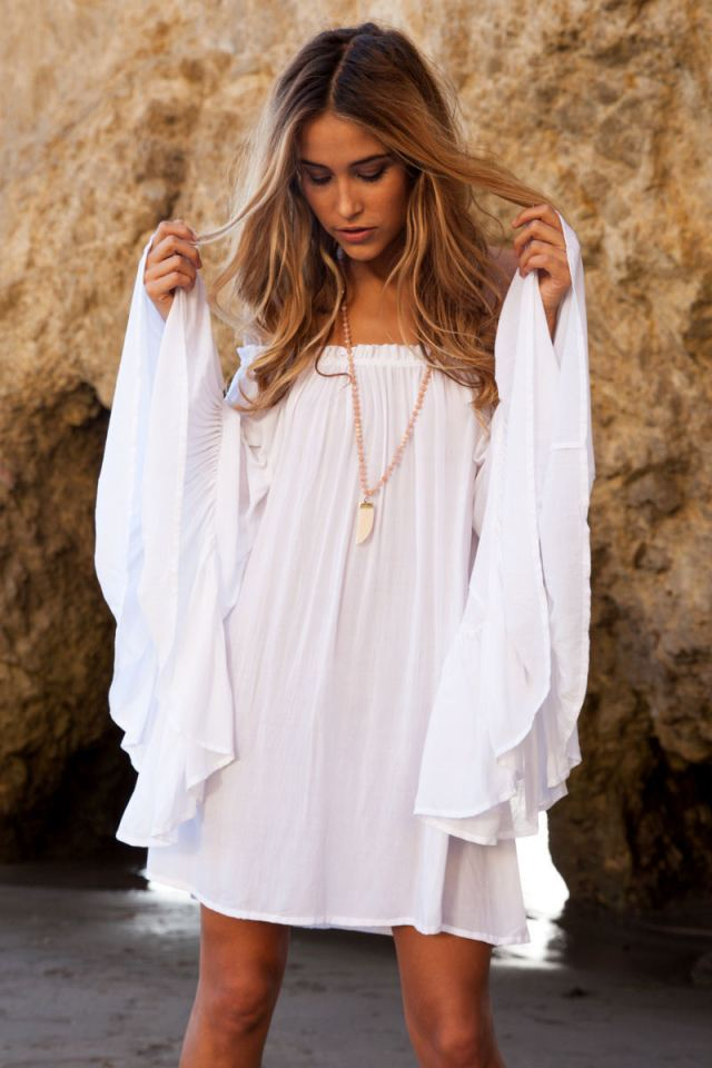 white boho cocktail dress bell sleeves