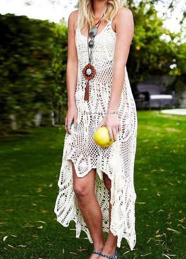 white boho high low dress