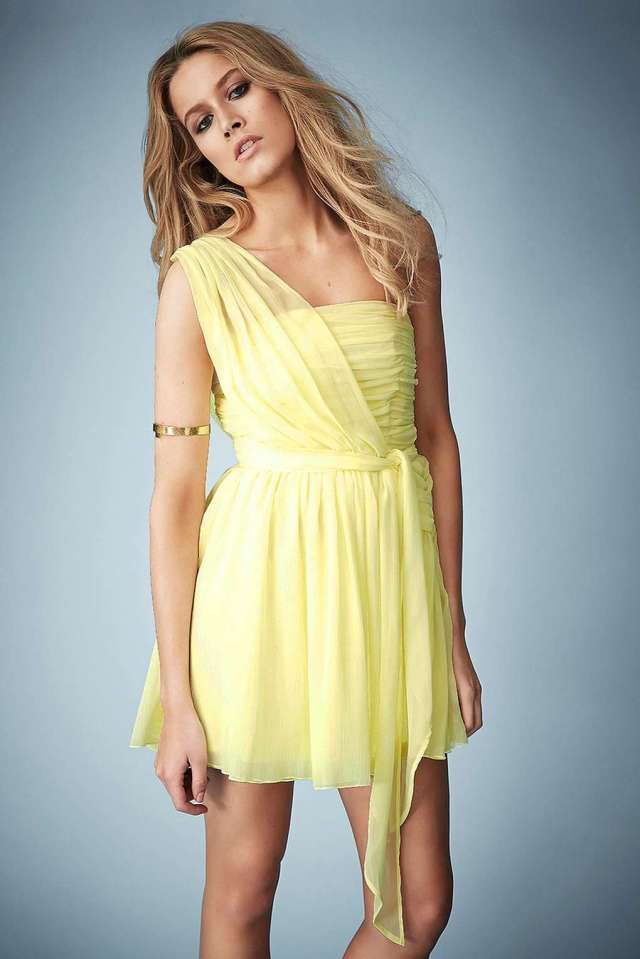 yellow chiffon cocktail dress