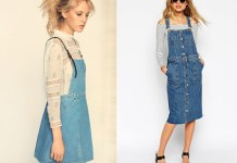 best denim overall skirt outfit
