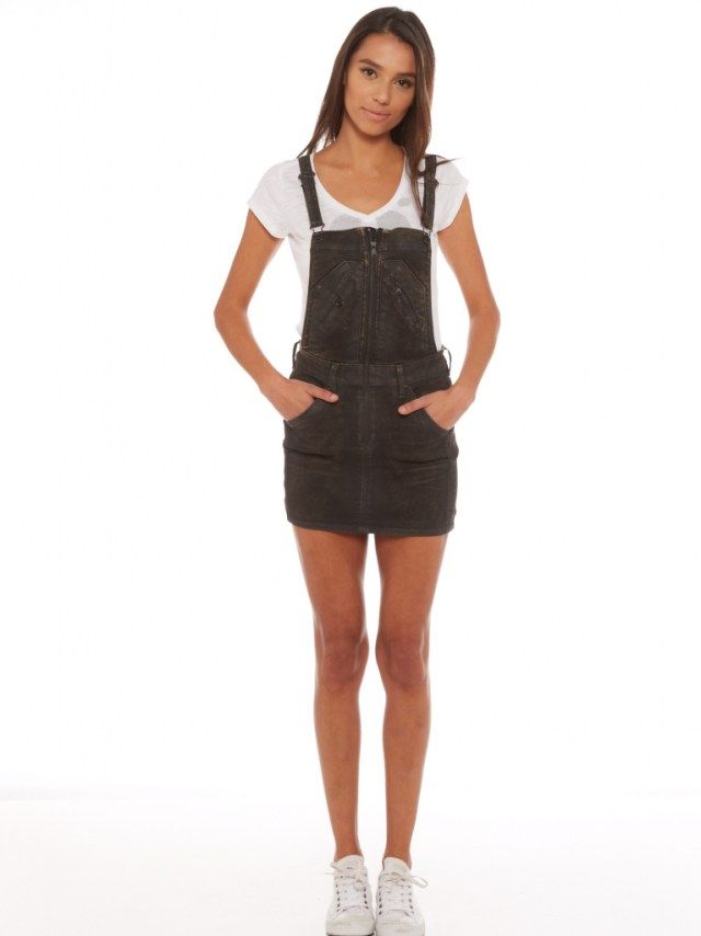 black denim overall skirt white t shirt