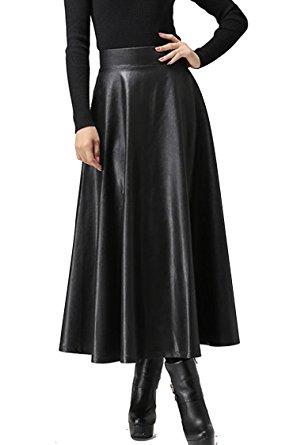 black leather high waisted maxi dress